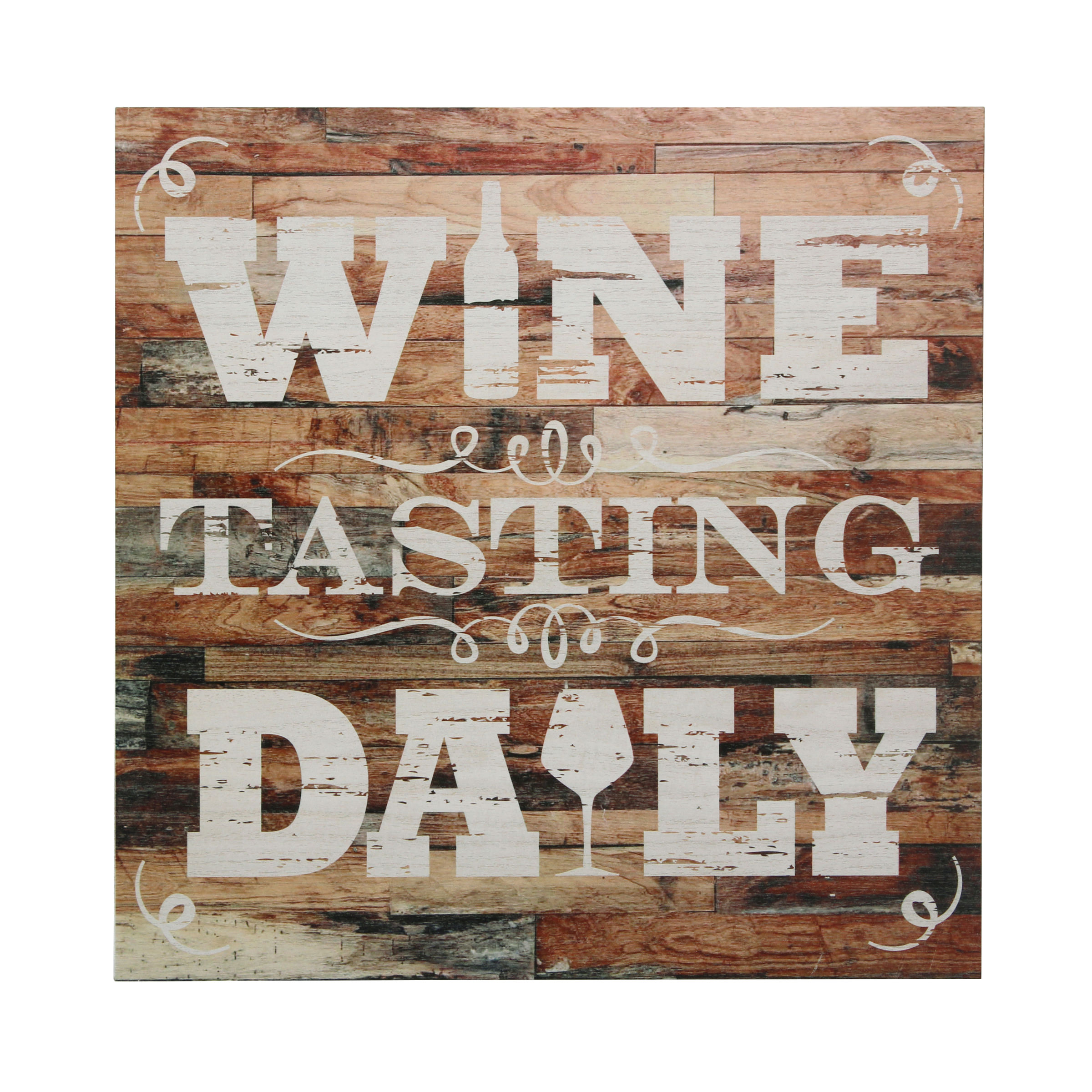 """Stonebriar Rustic 15 Inch Wine Theme Wood Wall Art with """"Wine Tasting Daily"""" Saying"""