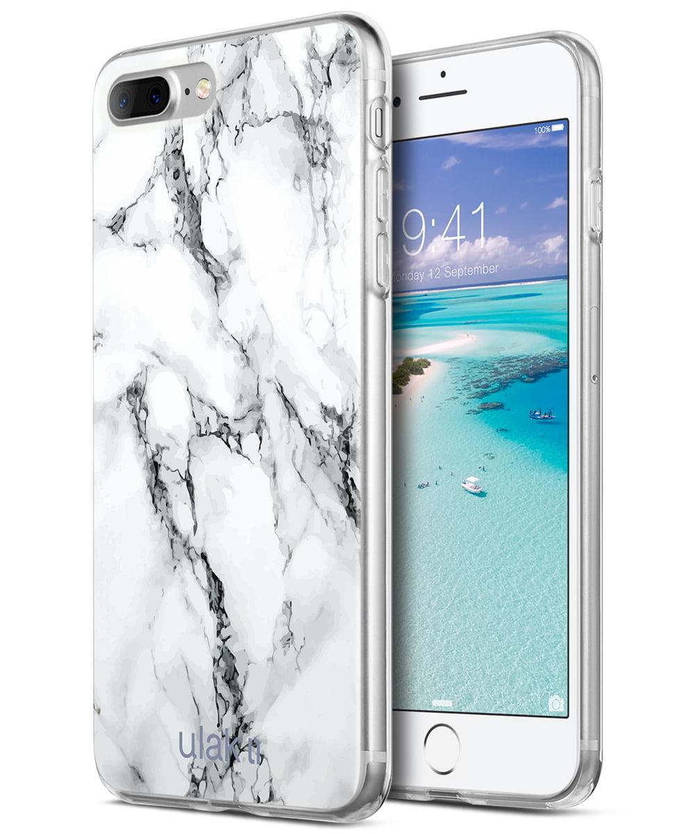 iPhone 7 Plus Case, ULAK Marble Design Slim Shock Absorbing Flexible Glossy TPU Soft Bumper Case 4H PET Back Skin Cover for Apple iPhone 7 Plus - ...