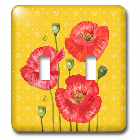 3dRose Bright Red Poppies on a Yellow and White Floral Print - Double Toggle (Yellow Swatch)