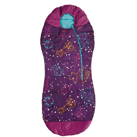 Sleeping Bag Girl (AceCamp Kids Glow-in-The-Dark Sleeping Bag with Compression Sack Purple Mummy Style 30F/ -1C Head Bundle Bottom Seal Enclosed Pocket for)