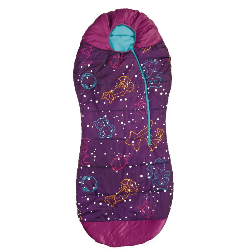 AceCamp Kids Glow-in-The-Dark Sleeping Bag with Compression Sack Purple Mummy Style 30F/ -1C Head Bundle Bottom Seal Enclosed Pocket for Girls