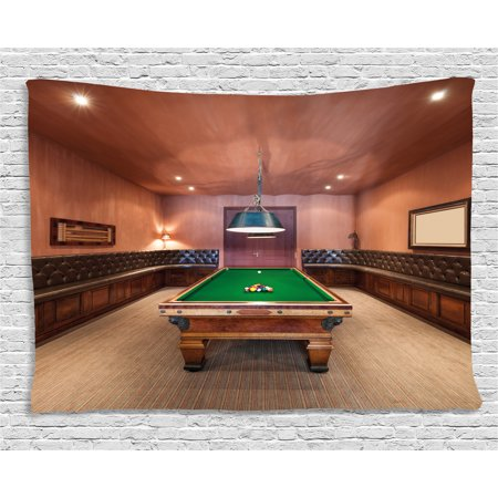 Modern Decor Tapestry, Entertainment Room in Luxury Mansion Pool Table Billiard Lifestyle, Wall Hanging for Bedroom Living Room Dorm Decor, 80W X 60L Inches, Cinnamon Brown Green, by Ambesonne (Gothic Mansion Wall Decor)