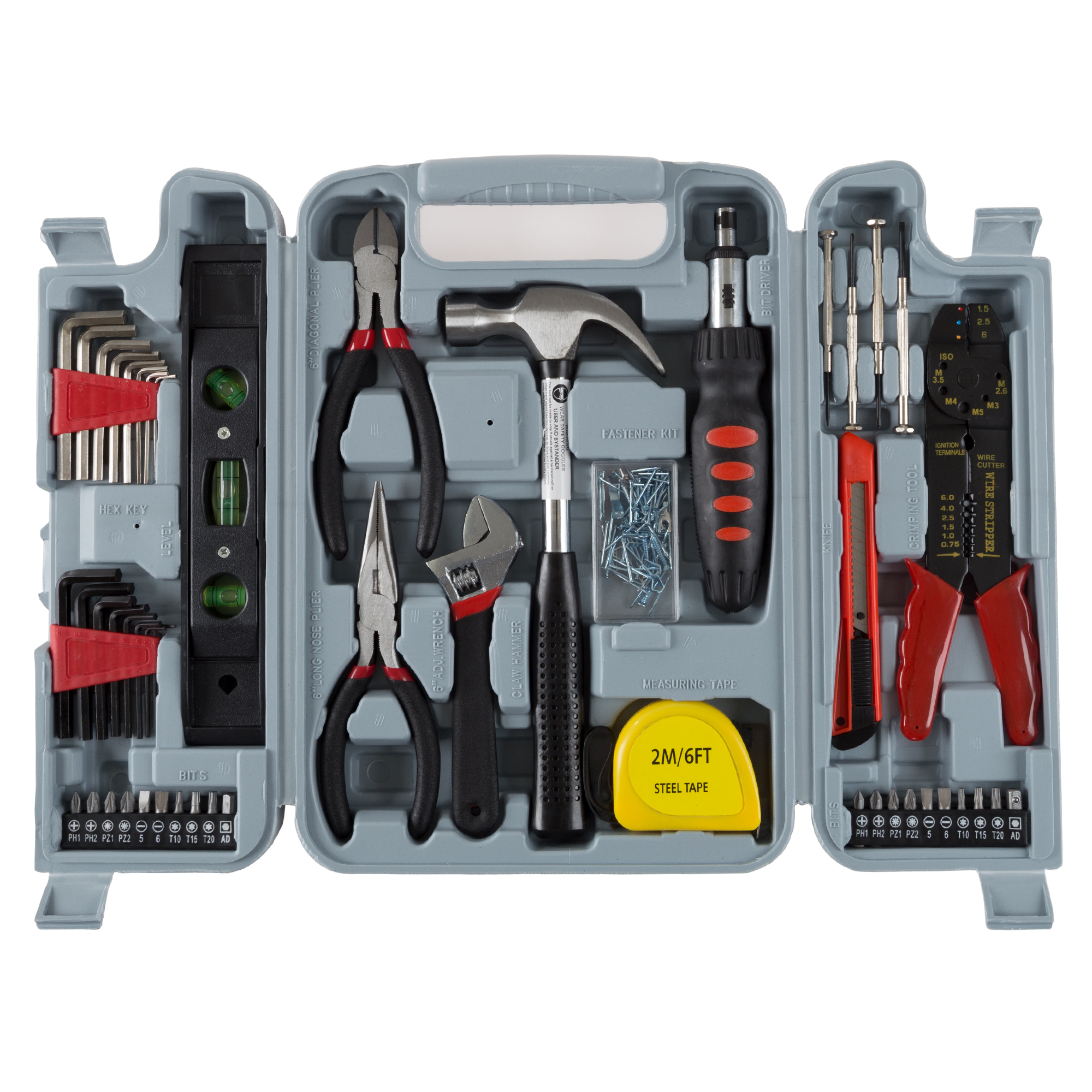 Household Hand Tools, 130 Piece Tool Set by Stalwart, Set Includes Hammer, Wrench Set,... by Trademark Global LLC