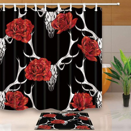 BPBOP Elk Deer Decor Red Rose on Antlers in Black Shower Curtain 66x72 inches with Floor Doormat Bath Rugs 15.7x23.6 -