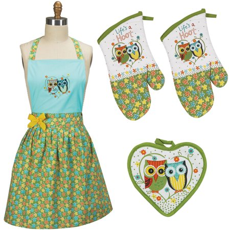 (Kay Dee Designs Life's a Hoot Apron, Pot holder and 2 Oven mitts, 4 piece set)