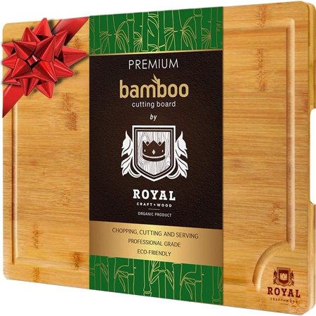 Wood Reversible Cutting Board - XL Cutting Board - Extra Large Bamboo Cutting board for Kitchen - Butcher Block for Chopping Meat and Vegetables by Royal Craft Wood
