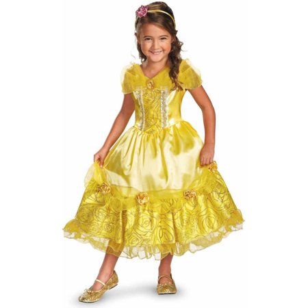Disney Belle Deluxe Sparkle Girls' Child Halloween Costume](Belle Costume Womens)