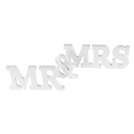 White Wooden Mr and Mrs Signs Wedding Present by Super Z Outlet](Mr And Mrs Sign)