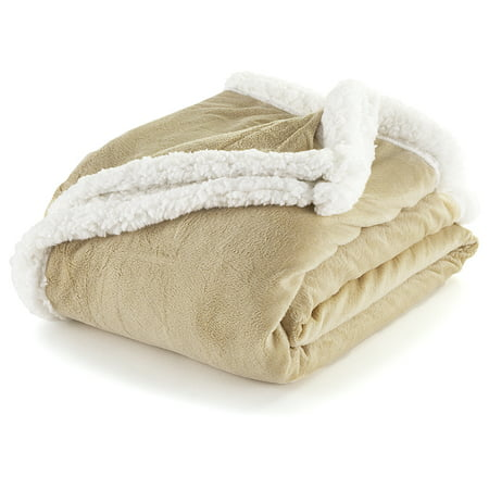 Sand And White Sherpa Plush Fleece Throw Blanket  Reversible  50   X 60