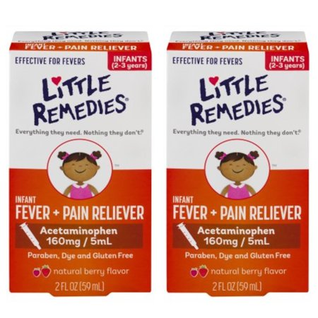 2 Pack Little Remedies Infant Fever/Pain Liquid Dye-Free Natural Berry 2oz Each