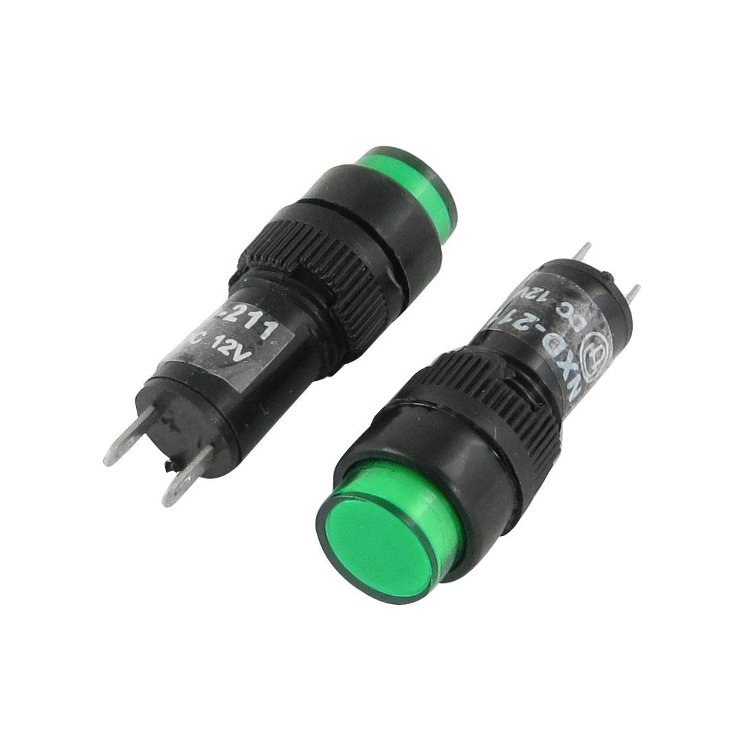 Unique Bargains 10pcs 10mm Neon Indicator Pilot Signal Light Lamp DC12V Green