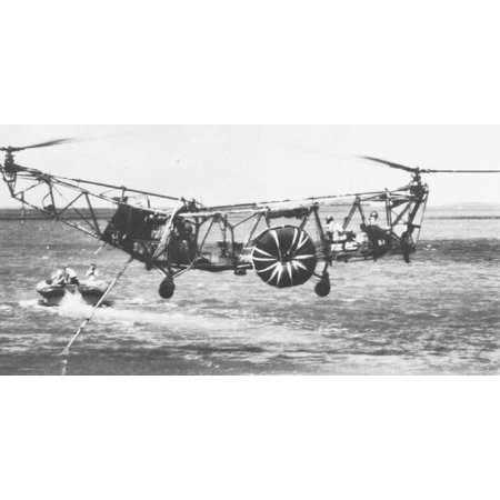 LAMINATED POSTER A U.S. Navy Piasecki XHRP helicopter with flotation bags during towing tests in June 1953. Poster Print 24 x - Flotation Bag