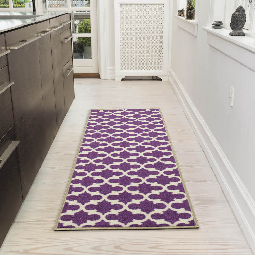 Ottomanson Glamour Collection Moroccan Trellis Area Rugs and Runners, Purple