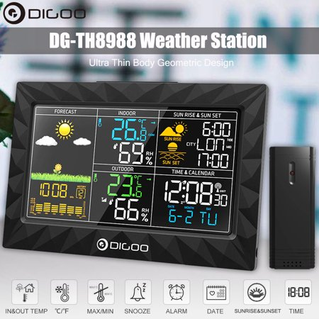 DIGOO Indoor Outdoor Wireless Weather Forecast Station for Home with Outdoor Sensor,Super Thin Design,Colorful Large Screen,Sunrise Sunset Display Thermometer