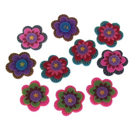 Self-Adhesive Boho Flowers Felt Die Cuts, 1-1/2-Inch, (Make Felt Flowers)