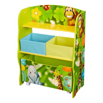 Children's Jungle Deluxe 2-Shelf Organizer with Storage Box and 2 Bins