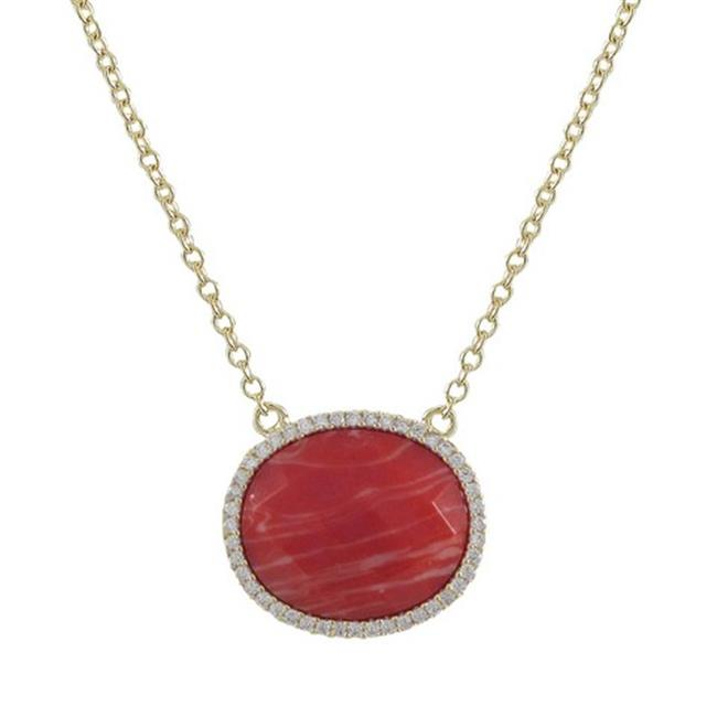 Dlux Jewels Coral 15 x 18 mm Semi Precious Oval Stone Set & Gold Tone Sterling Silver with Cubic Zirconia Necklace, 16... by Dlux Jewels