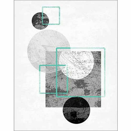 Circles & Squares Distressed Texture Contemporary Trendy Modern Abstract Painting Black & White Canvas Art by Pied Piper (Club Textured Black Canvas)
