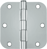 "3-1/2 x 3-1/2 Plain Bearing 5/8"" Radius Corner Full Mortise Hinge - Pair Bright Chrome"