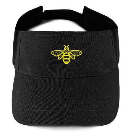 - Trendy Apparel Shop Bee Embroidered 100% Cotton Adjustable Visor - Black