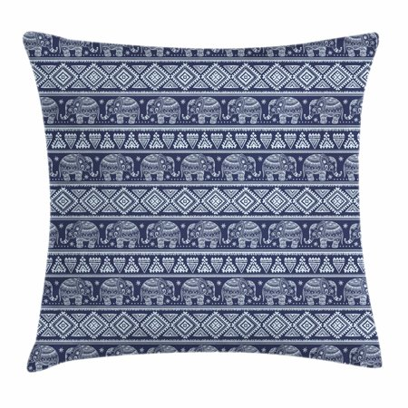 Ethnic Throw Pillow Cushion Cover, Tribal South Asian Rhombus and Elephant Motifs Blooming Flowers Pattern, Decorative Square Accent Pillow Case, 18 X 18 Inches, Navy Blue and Pale Blue, by - Tribal Flowers