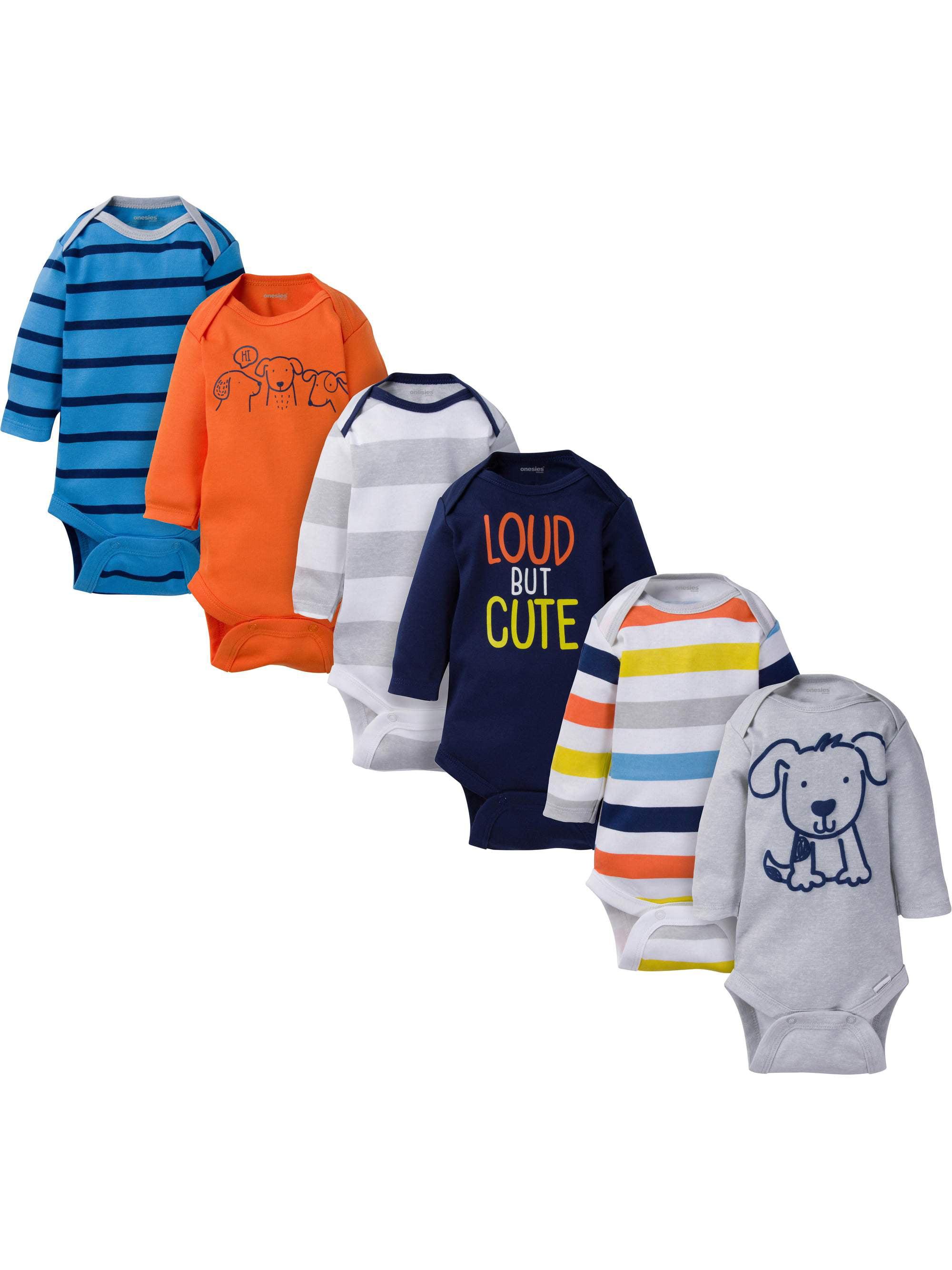 Assorted Long Sleeve Bodysuits Set, 6pk (Baby Boy)