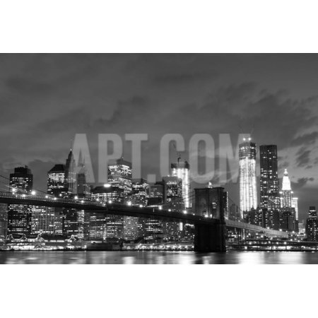 Brooklyn Bridge and Manhattan Skyline at Night, New York City Print Wall Art By Zigi