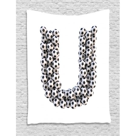 Letter U Tapestry, Stack of Soccer Balls with U Shape Alphabet in Football Theme Outdoor Sports, Wall Hanging for Bedroom Living Room Dorm Decor, 40W X 60L Inches, Black White, by Ambesonne Black Fluorescent Outdoor Hanging