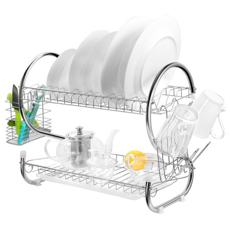 2-Tier Dish Rack Chrome-plated Steel Kitchen Drying Rack w/ Cup Drainer Cutlery Holder Removable Plastic Drainboard