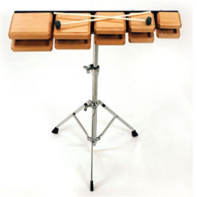 Rhythm Band Instruments RB603 Deluxe Wood Temple Blocks with Stand An by Rythm Band
