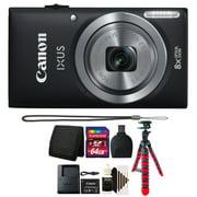 Canon IXUS 185 / ELPH 180 20MP 16x ZoomPlus Black Digital Camera with 64GB Top Accessory Kit