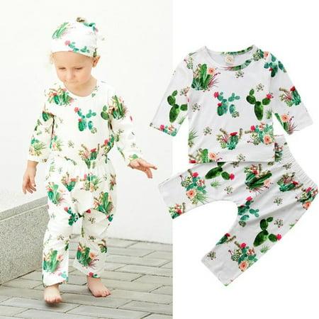 Newborn Casual Toddler Kids Boys Girls Cactus T-shirt Tops Blouse +Long Pants Outfits Clothes Set](Cactus Outfit)