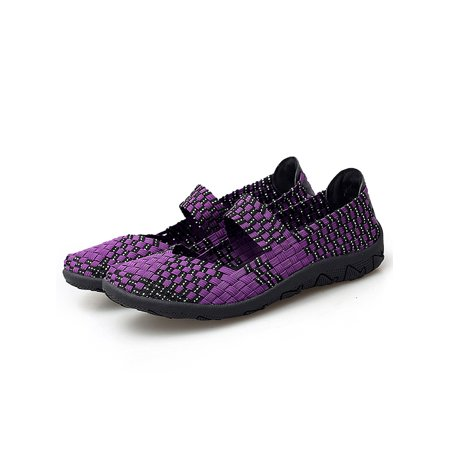 DYMADE Women's Woven Wedge Casual Deck Loafers Comfort Lightweight Elasticized