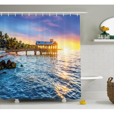 United States Shower Curtain, Pier at Beach in Key West Florida USA Tropical Summer Paradise, Fabric Bathroom Set with Hooks, Pale Blue Yellow Green, by Ambesonne ()