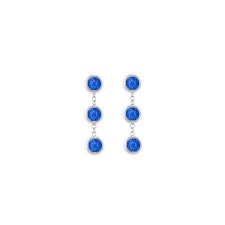 UBERBK7155W14S 5 Carat Created Blue Sapphire Station Earrings Bezel Set in 14K White Gold Screw or Push Back 14k White Gold Set