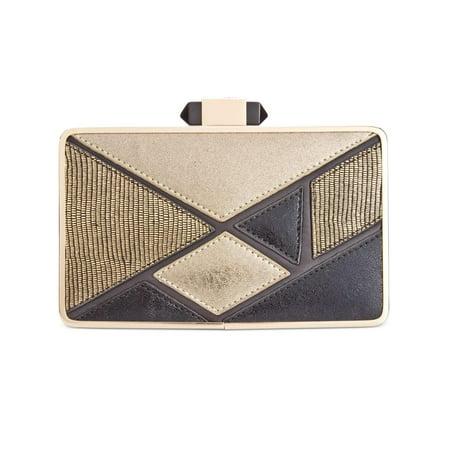 Colorblock Clutch (INC Womens Sholla Metallic Colorblock Clutch Handbag Gold Small )