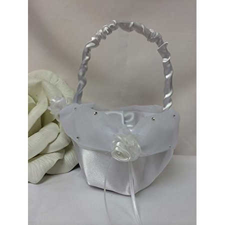 Wedding Flower Girl Basket with Tulle Ribbon Bowknot Crystal (Cp Crystal Baskets)