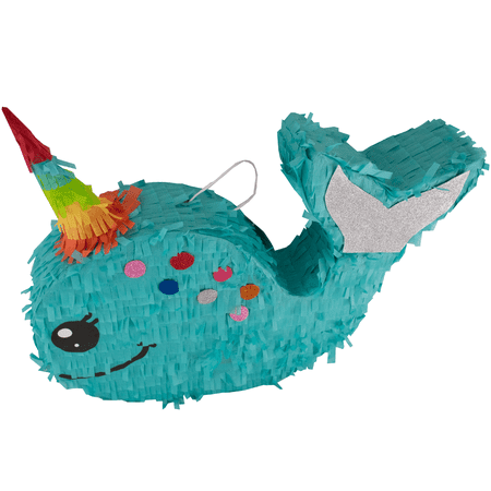 21 Pinata (Narwhal Party Pinata, Teal, 23in x)