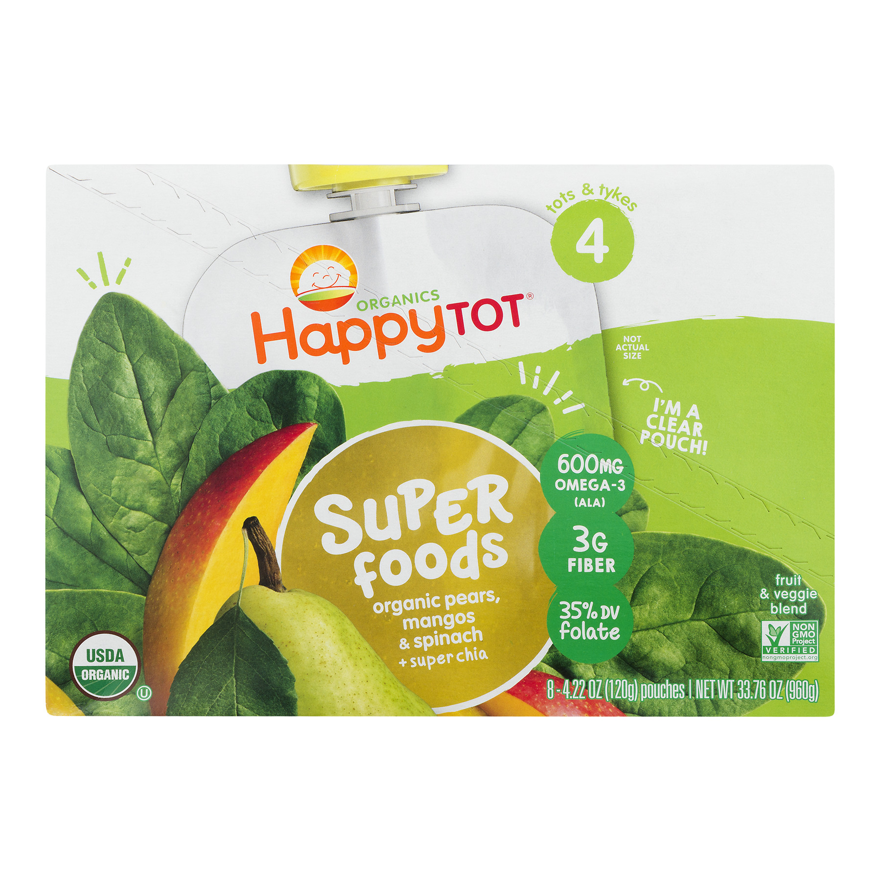 Happy Tot Super Foods Pouches Orgnanic Pears, Mangos & Spinach + Super Chia, 4.22 OZ