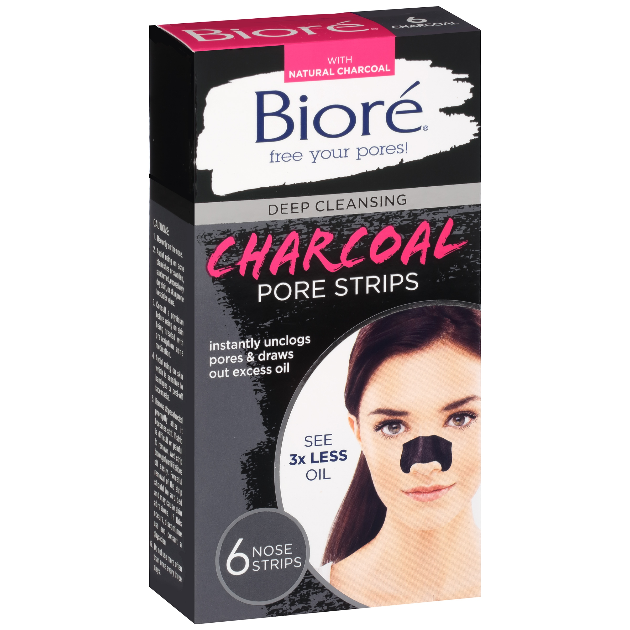 Biore Deep Cleansing Charcoal Pore Strips, 6 ct - Walmart.com
