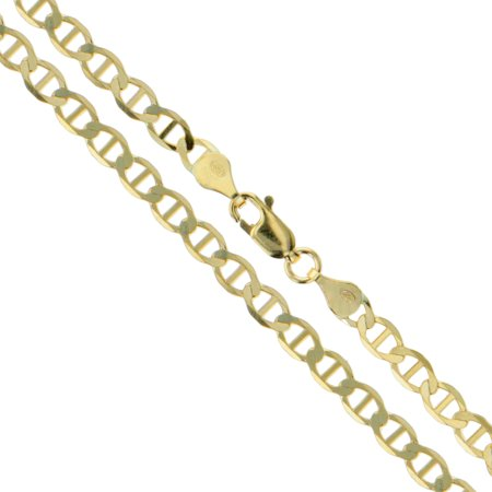 Anchor Link Chain Necklace - 10k Yellow Gold Solid Mariner Chain Marina Anchor Link 3mm Necklace 24