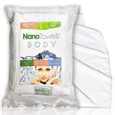 Nano Towels Body Bath & Shower Hair Towel 20x40 White - Super Absorbent. Wipes Away Dirt, Oil and Cosmetics. Use As Your Sports, Travel, Fitness, Kids, Beauty, Spa or Solon Luxury Towel