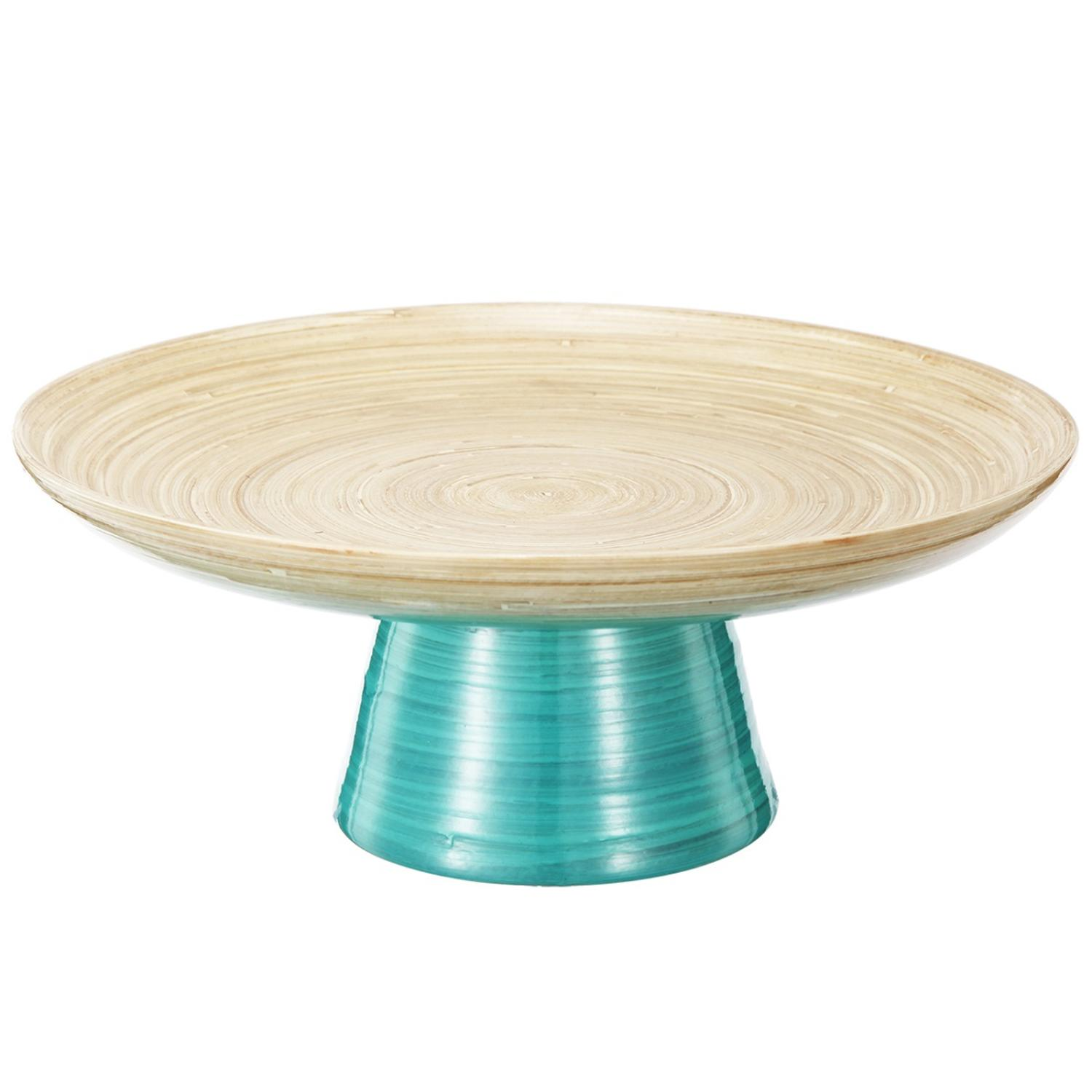 """Image of 12"""" Teal and Tan Decorative Ombre Dynasty Bamboo Presentation Pedestal Tray"""