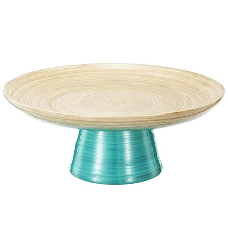 "Image of 12"" Teal and Tan Decorative Ombre Dynasty Bamboo Presentation Pedestal Tray"