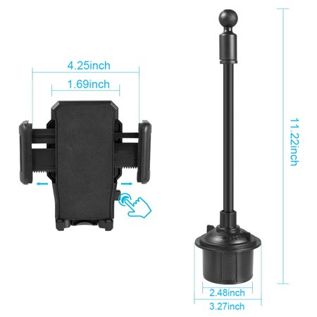 Insten Universal Adjustable Quick Release And Rotatable Car Cup phone Holder for Apple iPhone XS XS Max XR X 8 8+ 7 Plus 6s 6, Samsung S9 S9+ Note 8 Galaxy S8, LG, Google Pixel 3, Motorola Moto Z3 - image 2 of 4