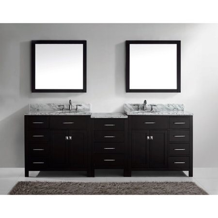 Virtu Caroline Parkway 92 8 Double Bathroom Vanity Set With Carrara White Top And Mirror