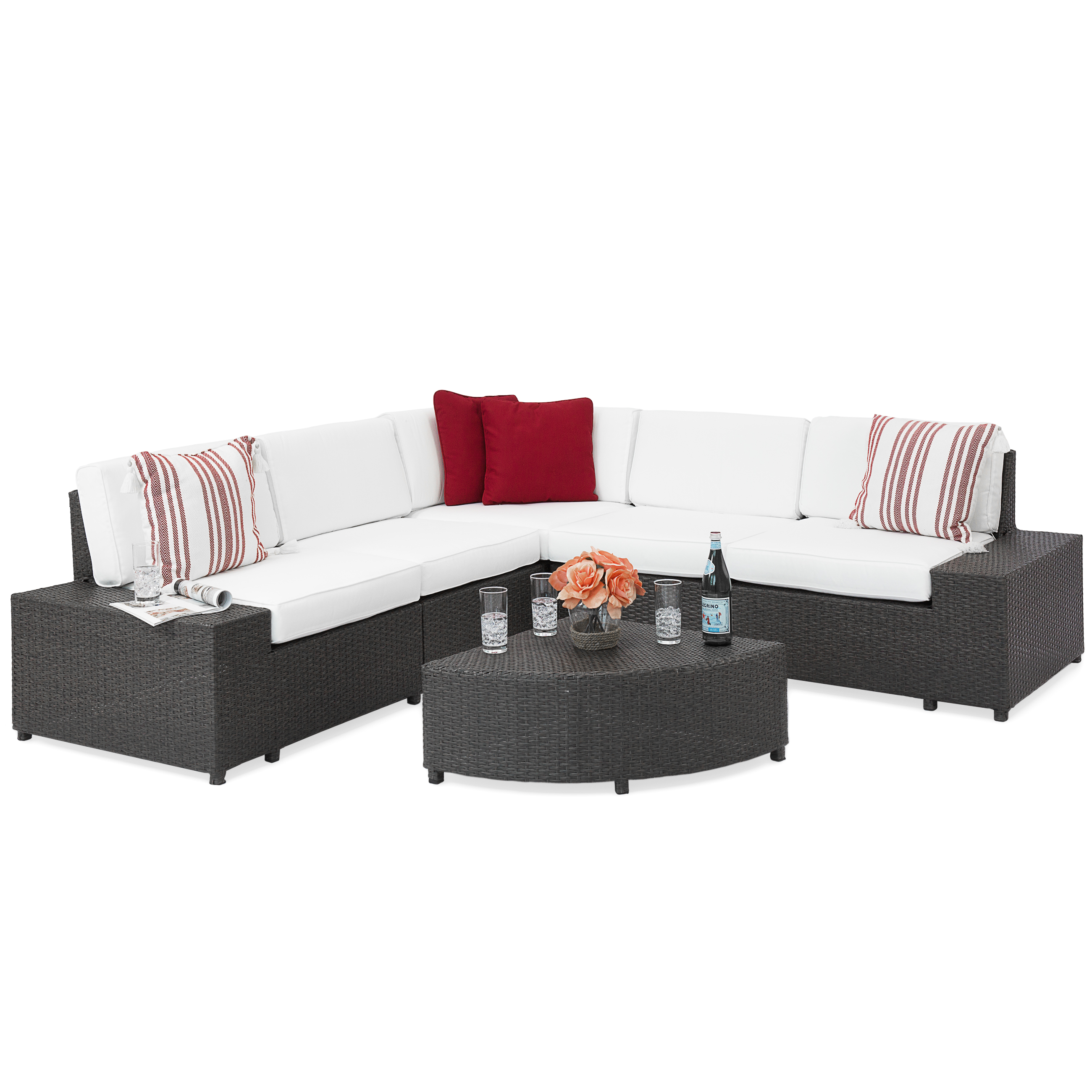 6-Pc Wicker Sectional Sofa Set w  5 Seats, Corner Coffee Table, Padded Cushions by Best Choice Products
