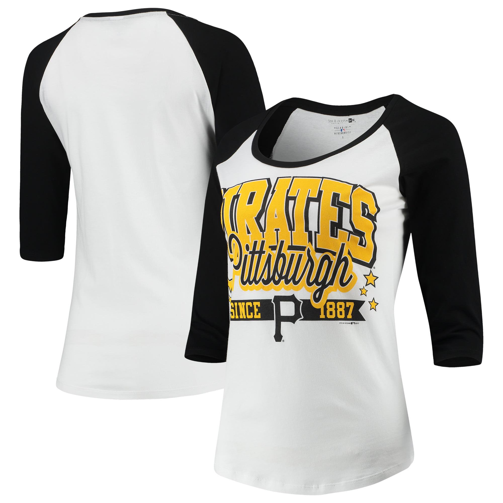 Pittsburgh Pirates 5th & Ocean by New Era Women's Team Banner 3/4-Sleeve Raglan T-Shirt - White/Black