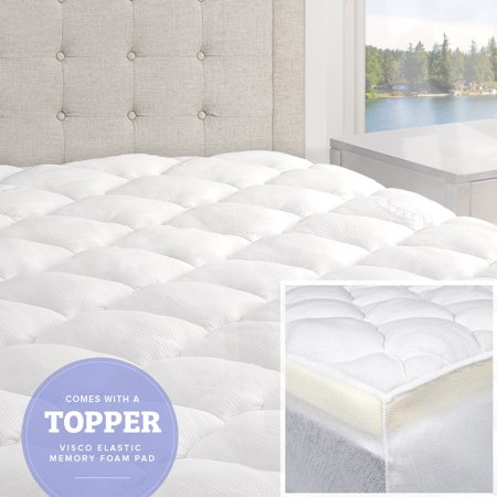 Double Mattress Topper - Double Thick 2-Piece Bamboo Mattress Pad & Comfort Topper