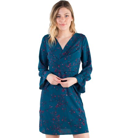 Women's Eyeshadow Faux Wrap 3/4 Sleeve Dress with Flounce Sleeves 3/4 Sleeve Faux Wrap